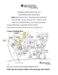 Umpi Campus Map.Umpi Temporary Parking Permit Maine International Trade Center